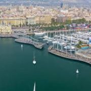 aerial view barcelona port