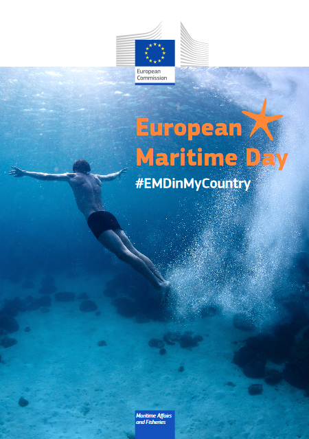 poster with EC logos, EMD hashtag and a man swimming