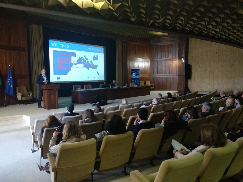 WestMED presentation in large meeting room with speaker and audience in Portugal