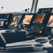 bridge of ship with navigation equipment