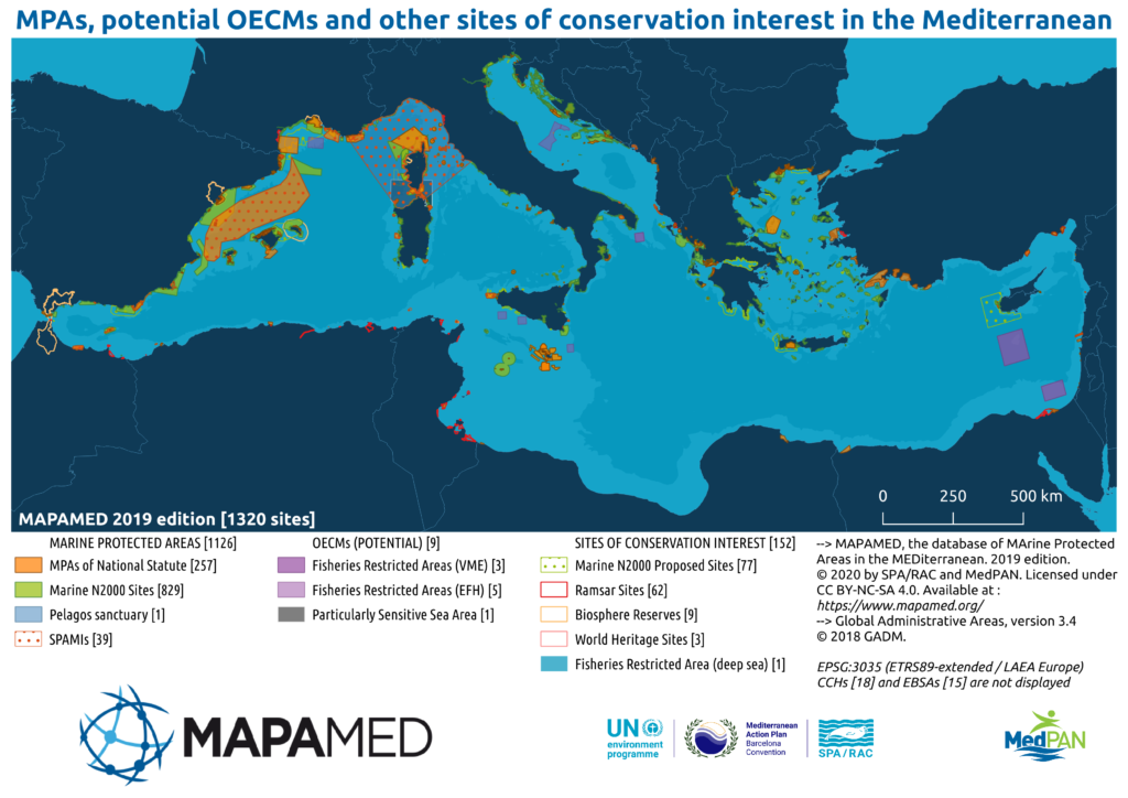 map of mediterranean sea with MPA's highlighted