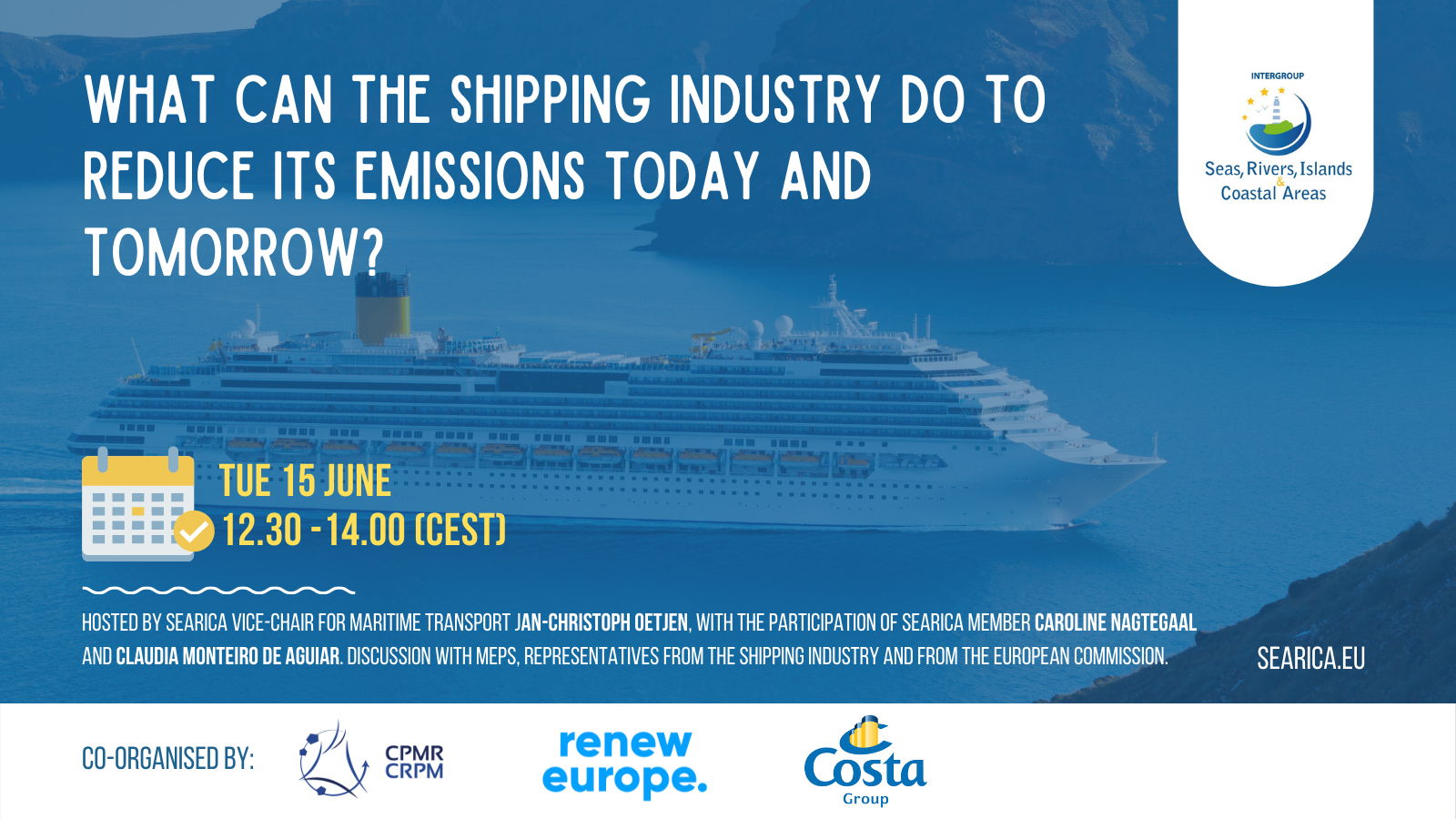 event announcement poster with cruise ship