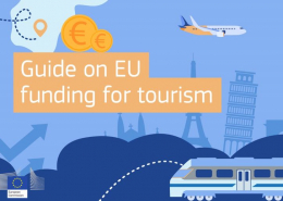 text guide on EU funding for toursm drawing of EU tourist destinations, train, plane and euro coins