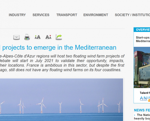 screenshot econostrum website with article headline and floating wind poject