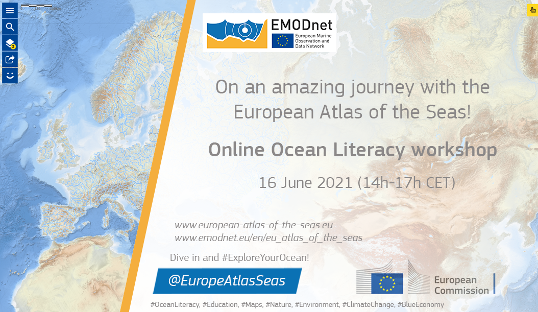 event announcement poster with map of Europe and its seas