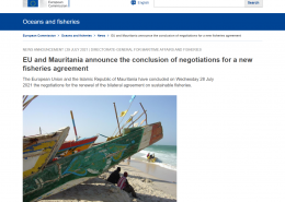 screenshot of ec.europa news article with image of Mauritanian boat on beach