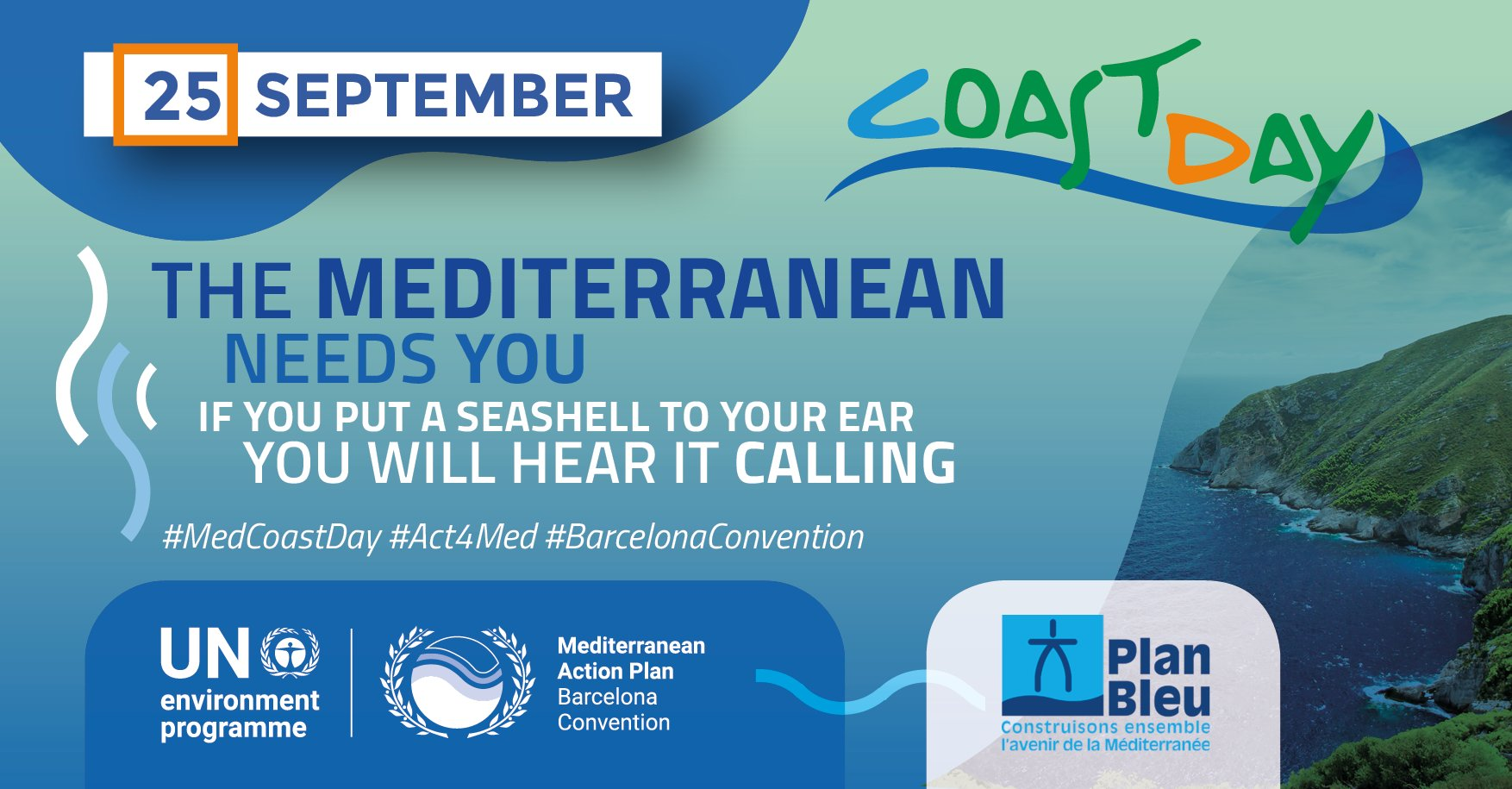 announcement poster med coast day 2021 - rocky coastline