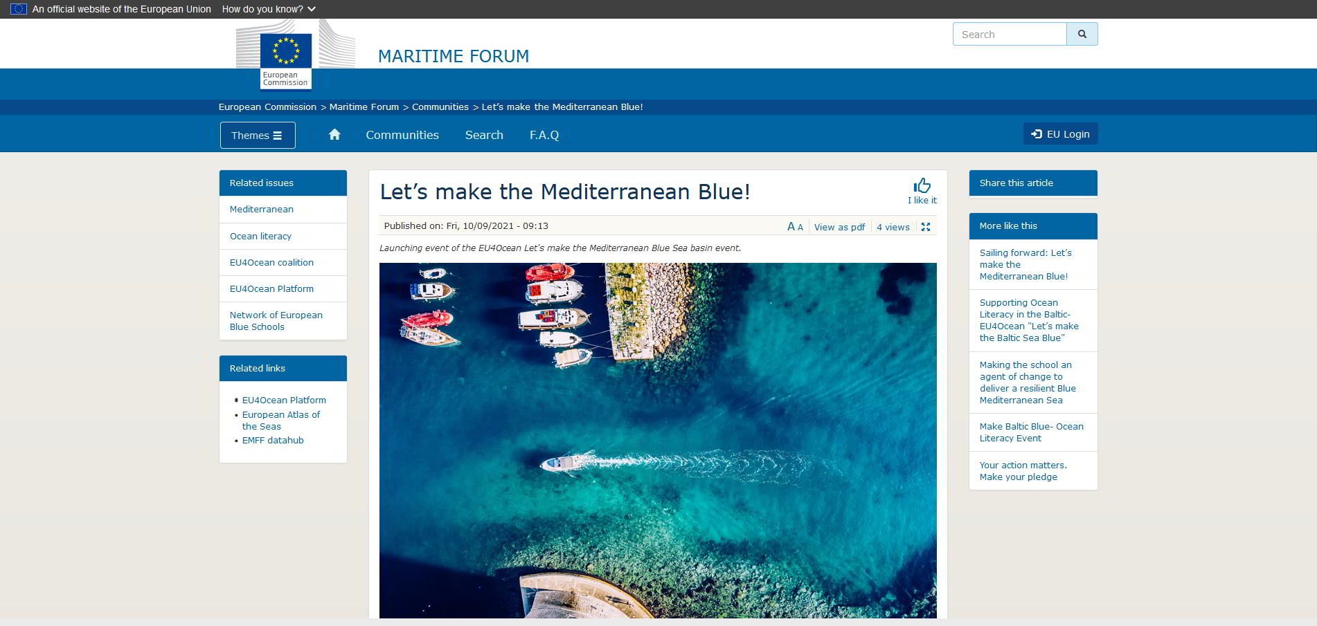 screenshot.maritime.forum.site. with image of aerial from portlets.make.med.blue event