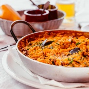 plate with spanish paella